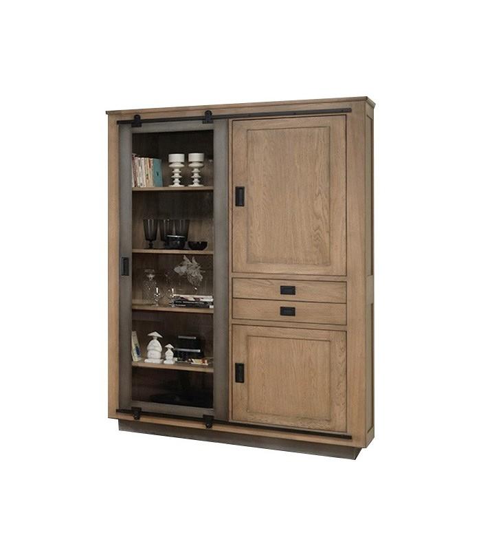 vitrine style atelier en ch ne massif fran ais. Black Bedroom Furniture Sets. Home Design Ideas