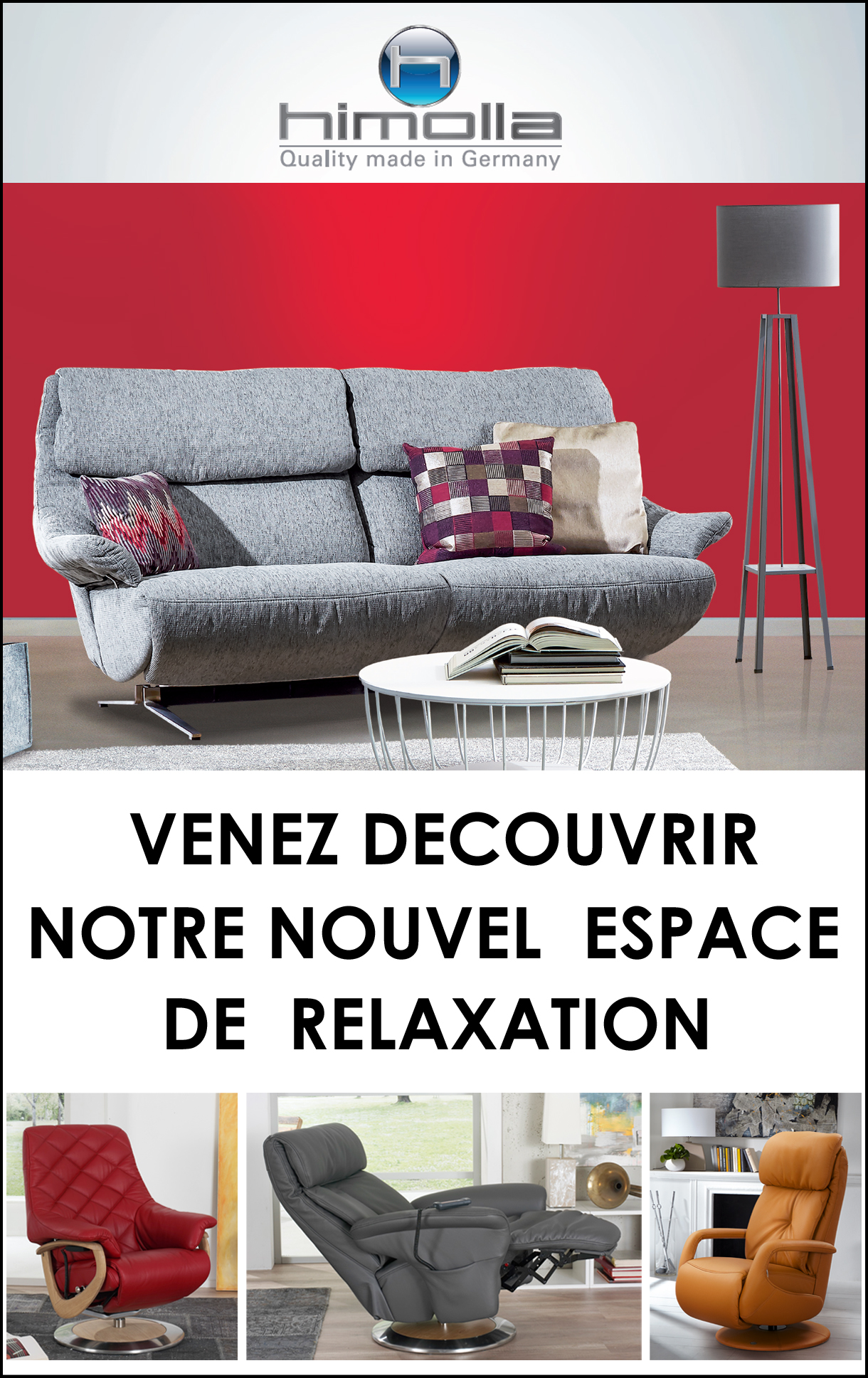 Nouvel espace canapés et fauteuils de relaxation Himolla