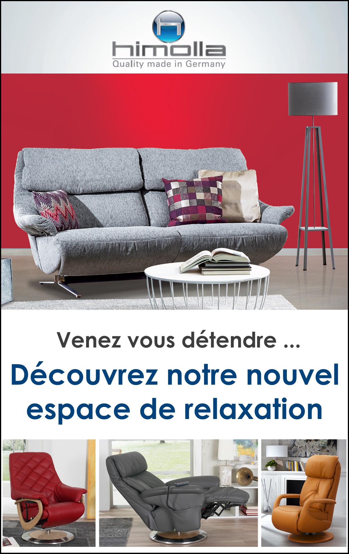 Nouvel espace canapé et fauteuil relaxation Himolla