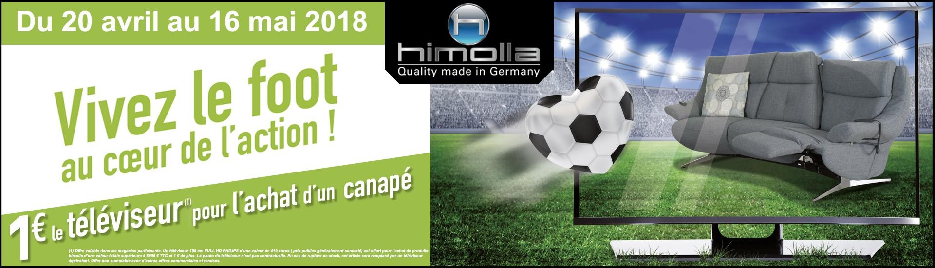 Himolla foot!! 1€ le téléviseur du 20 avril au 16 mai 2018 chez GLOBAL Meubles